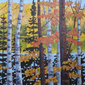 "Looking out over Wenona L. in Autumn, acrylic on texturized canvas, 28"" x 28"", SOLD"