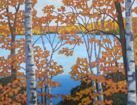 "Looking out over Wenona L. in Autumn, acrylic on texturized canvas, 26"" x 26"", SOLD"