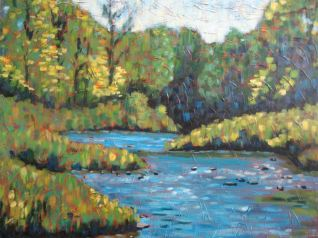 "Maitland River Impression 3, acrylic on canvas, 30"" x 40"", Honorable Mention Huron County Art Show 2008, SOLD"