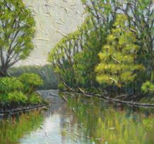 "Maitland River Impression 4, acrylic on canvas, 30"" x 30"", 2008 SOLD"