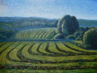 "Misty Morning in Hay Field, acrylic on canvas, 30"" x 40"", 2008, SOLD"