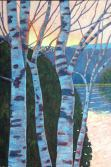 """Birches in Evening Light on Wenona Lake, acrylic on texturized canvas, 24"""" x 36"""""""