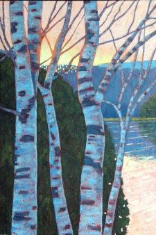 "Birches in Evening Light on Wenona Lake, acrylic on texturized canvas, 24"" x 36"""