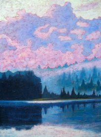 "North Shore Guilford Lake after the rain, acrylic on texturized canvas, 40"" x 30"", 2012, SOLD"