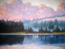"North Shore of Guilford Lake after the rain, acrylic on texturized canvas, 30"" x 40"", 2012"