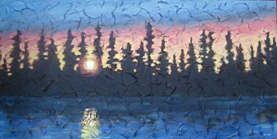 "Northern Sunset, acrylic on texturized canvas, 18"" x 36"", 2009, SOLD"
