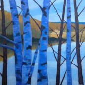 "November Birches, acrylic on texturized canvas, 26"" x 26"", SOLD"