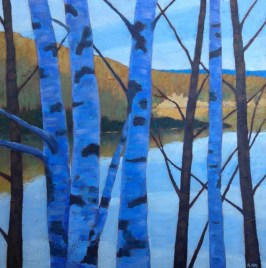 "November Birches, acrylic on texturized canvas, 26"" x 26"""