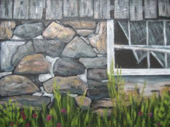 "Old Barn Close Up, acrylic on canvas, 14"" x 16"", 2008"