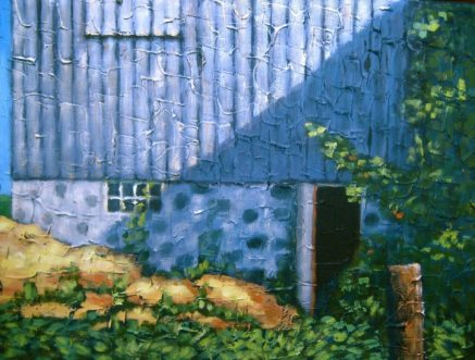 "Old Barn in Shadow, acrylic on canvas, 18"" x 24"", 2008, SOLD"