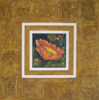 "Orange Poppy, collaged frame; acrylic on texturized canvas, collaged fabrics and papers, 30"" x 30"", 2011"