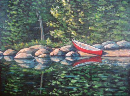 "Paddler's Paradise 2, acrylic on canvas, 30"" x 40"", 2008, SOLD"