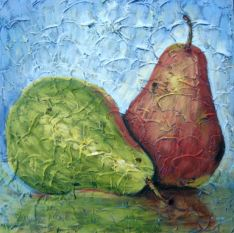 "Pair of Pears 1, Acrylic on textured canvas, 16"" x 16"", 2009"