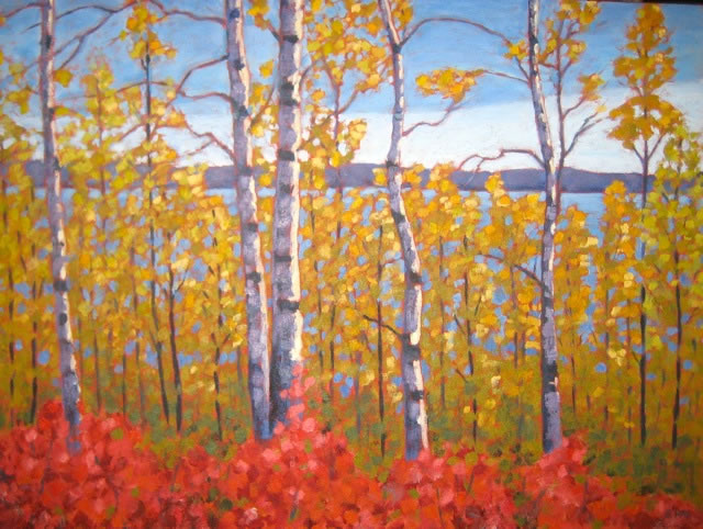 "Peeking through the Aspens, acrylic on canvas, 22"" x 30"", 2012, SOLD"