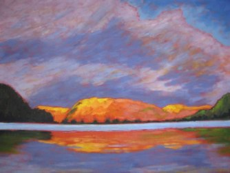 Portage Lake in Autumn, acrylic on canvas, 30 x 40""