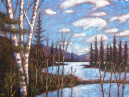"Portage Lake from Beaver Dam, acrylic on texturized canvas, 16"" x 20"", 2011, SOLD"