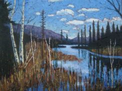 "Portage Lake in April, acrylic on texturized canvas, 30"" x 40"", 2009, SOLD"