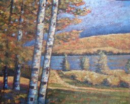 "Portage Lake from Potter's Studio, acrylic on texturized canvas, 24"" x 30"", 2011, SOLD"