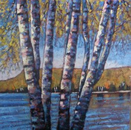 "Looking out over Portage Lake in Autumn, acrylic on texturized canvas, 30 x 30"" SOLD"