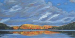 "Portage Lake in autumn, acrylic on canvas, 24 x 48"", SOLD"