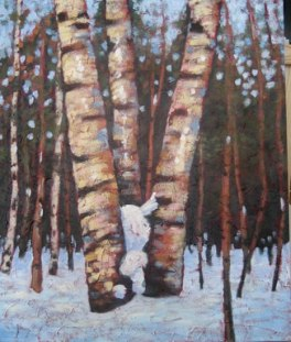 "Birches in the Glade, acrylic on texturized canvas, 40"" x 30"", 2011"