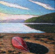 "Red Canoe, acrylic on texturized canvas, 30"" x 30"", 2009, SOLD"