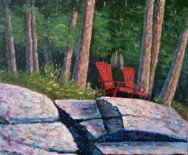 "Red Chairs, Acrylic on textured canvas, 30"" x 36"", 2009, SOLD"