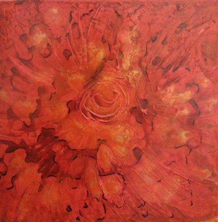 "Red Flower, acylic on canvas, 12"" x 12"", 2010"