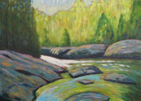 "Ritchie Falls Impression, acrylic on canvas, 30"" x 40"", 2008"