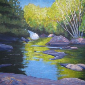 """Ritchie Falls Reflections, acrylic on canvas, 40 x 40"""", 2012"""