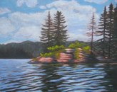 "Rocky Point on Canoe Lake #2, acrylic on texturized canvas, 22"" x 28"", SOLD"