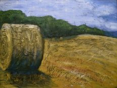 "Round Bale in Field, acrylic on canvas, 18"" x 24"", 2008 SOLD"