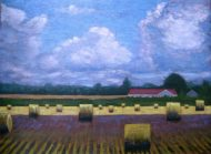 "Round Bales in the Sun and Shadow 2, acrylic on canvas, 30"" x 40"", 2008 SOLD"