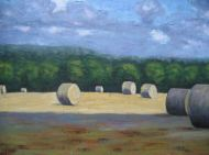 "Round Bales in the Sun and Shadow, acrylic on canvas, 24"" x 36"", 2008 SOLD"