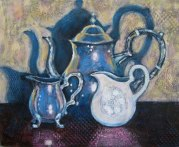"Silver Teapot and Entourage, acrylic on collaged fabrics and papers, 16"" x 20"", 2011"