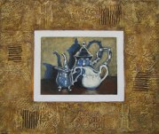 "Silver Teapot and Entourage in collaged frame, acrylic on texturized canvas, collaged papers and fabrics, 20"" x 24"", 2011"