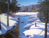 "Snowy Swamp #2, acrylic on texturized canvas, 22"" x 28"", SOLD"