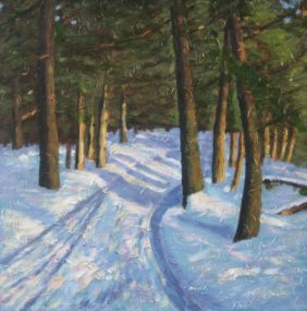 "Snowy Trail, acrylic on canvas, 24"" x 24"", 2008, SOLD"