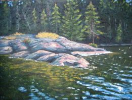 "Spruce Lake Point, acrylic on texturized canvas, 30"" x 40"", 2009, SOLD"