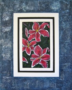 "Stargazer Lilies, collaged frame, acrylic on texturized canvas, collaged papers and fabrics, 24"" x 30"", 2011"