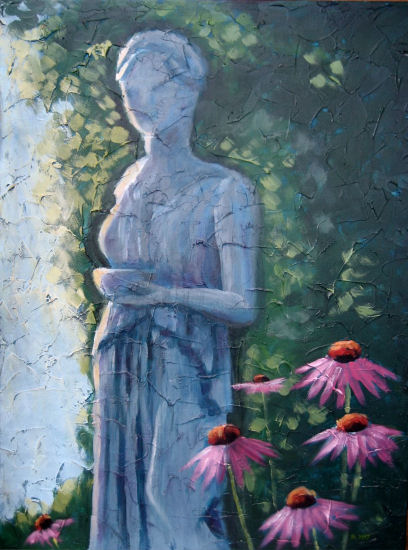 "Statue in my garden, Acrylic on textured canvas, 18"" x 24"", 2009"