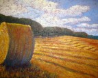 "Straw Bale in Field, acrylic on texturized canvas, 24 x 30"", 2012, SOLD"