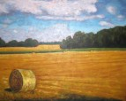 "Straw Bale in Field, acrylic on texturized canvas, 24 x 30"", 2012"