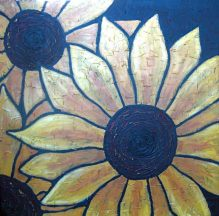 "Sunflowers, acrylic on canvas, 30"" x 30"", 2008"