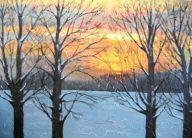 "Sunset on Summerhill Rd. 1, acrylic on canvas, 24"" x 36"", 2008, SOLD"