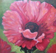 "Swing Dancing Poppy, acrylic on canvas, 30"" x 30"", 2008"