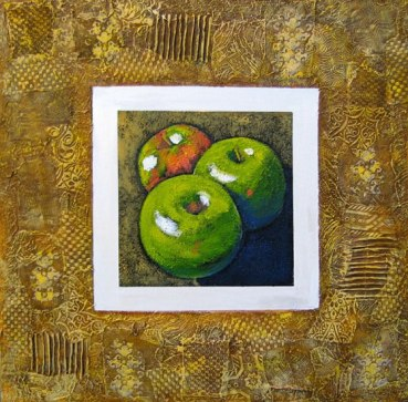 "Three apples, collaged frame; acrylic on texturized canvas, collaged fabrics and papers, 24"" x 24"", 2011"