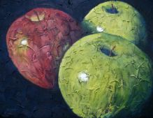 "Trio of apples 1, Acrylic on textured canvas, 16"" x 20"", 2009"