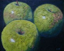 "Trio of Apples 2, Acrylic on textured canvas, 16"" x 20"", 2009"