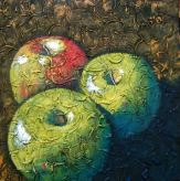 "Trio of Apples Squared, acrylic on texturized canvas, 24"" x 24"", 2009"
